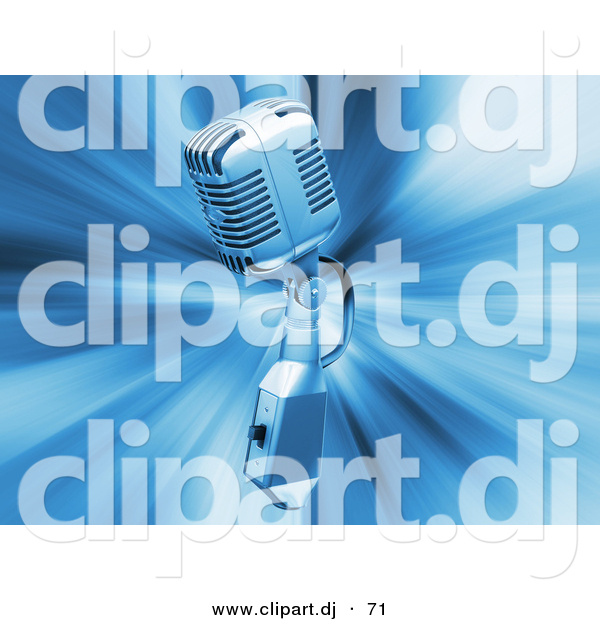 3d Clipart of a Retro Metal Microphone on Blue Bursting Background