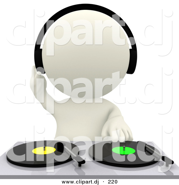 3d Clipart of a White DJ Mixing Dual Records