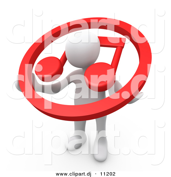 3d Clipart of a White Man Carrying Red Music Note Icon over His Shoulders
