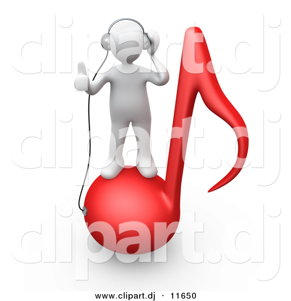 3d Clipart of a White Man on Red Music Note While Wearing Headphones
