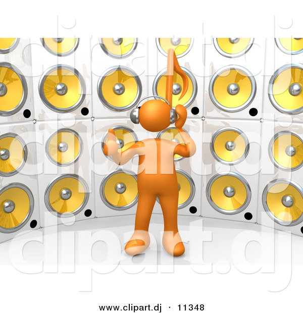3d Clipart of an Orange Guy Standing in Front of Wall of Speakers