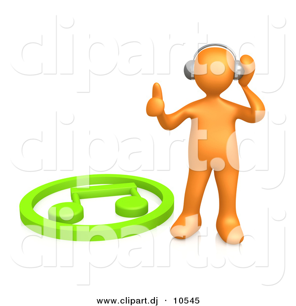 3d Clipart of an Orange Man Listening to Music on Wireless Headphones While Standing Beside Green Music Note