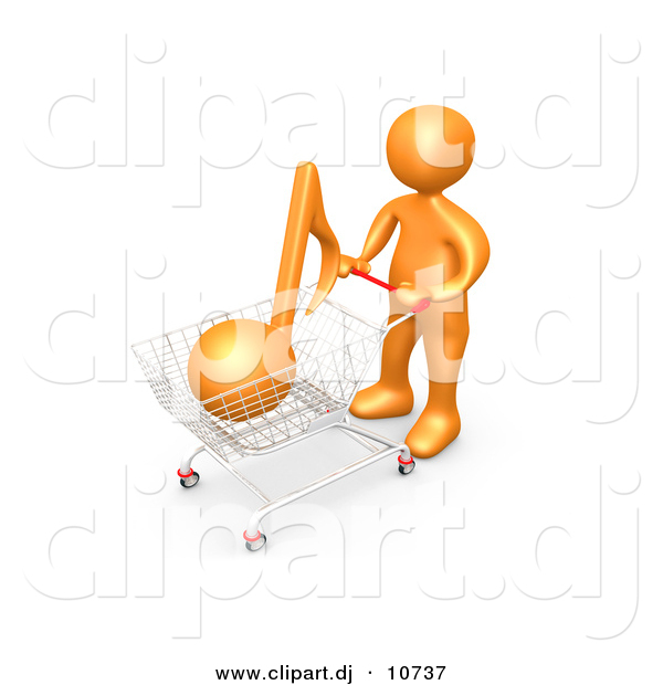 3d Clipart of an Orange Man Shopping for Music with a Push Cart