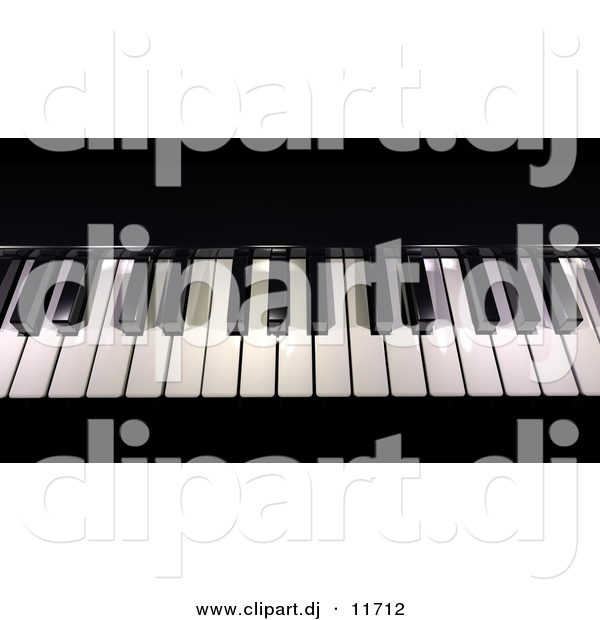 3d Clipart of Piano Keys - Black and White