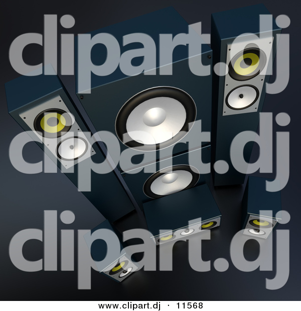 3d Vector Clipart of 7 Black Speakers
