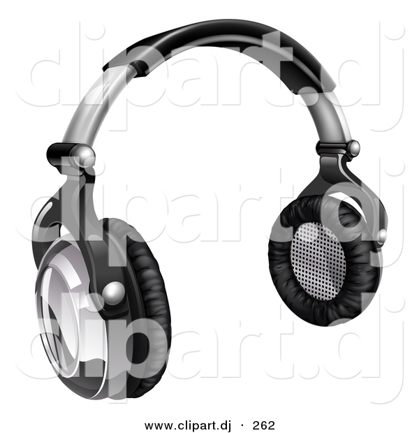 3d Vector Clipart of a Audio Headphones - Black and Silver
