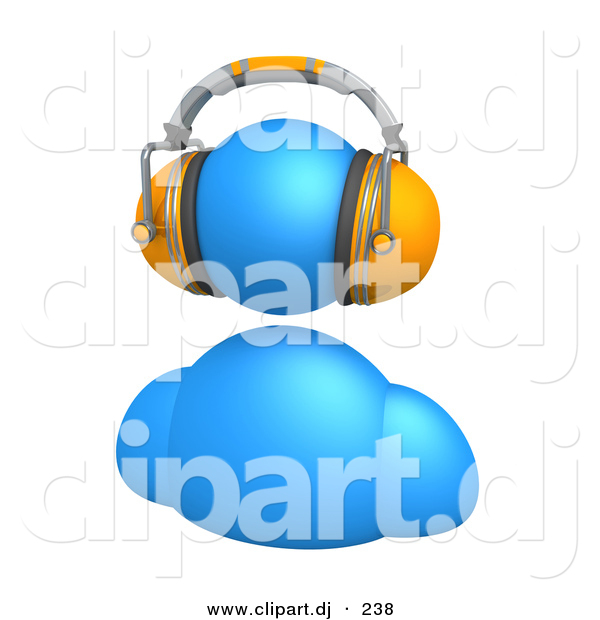 3d Vector Clipart of a Blue Avatar Character Wearing Orange Headphones