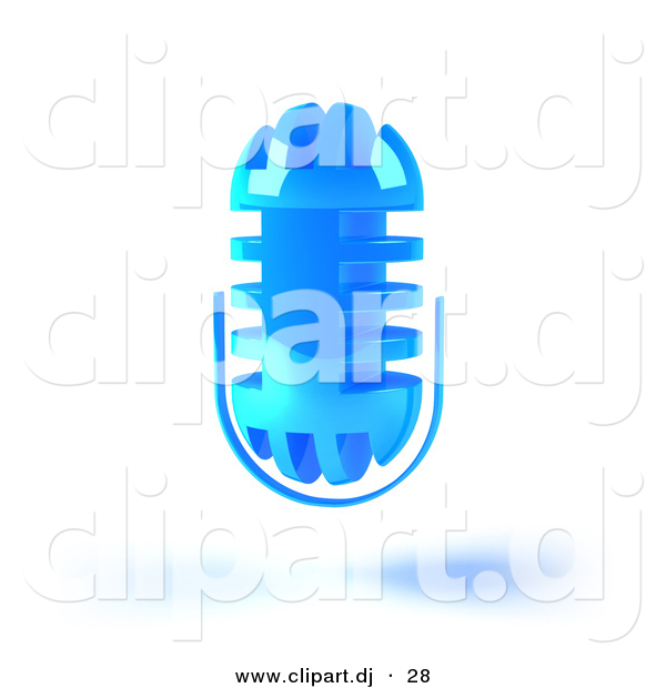 3d Vector Clipart of a Blue Floating Mic