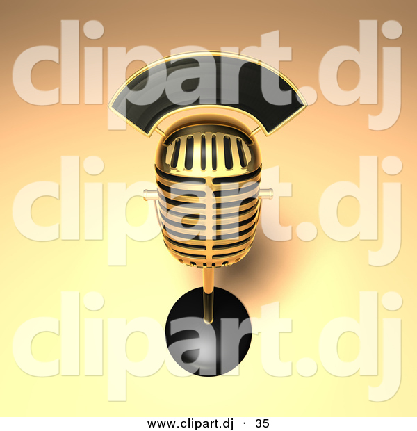 3d Vector Clipart of a Golden Retro Mic