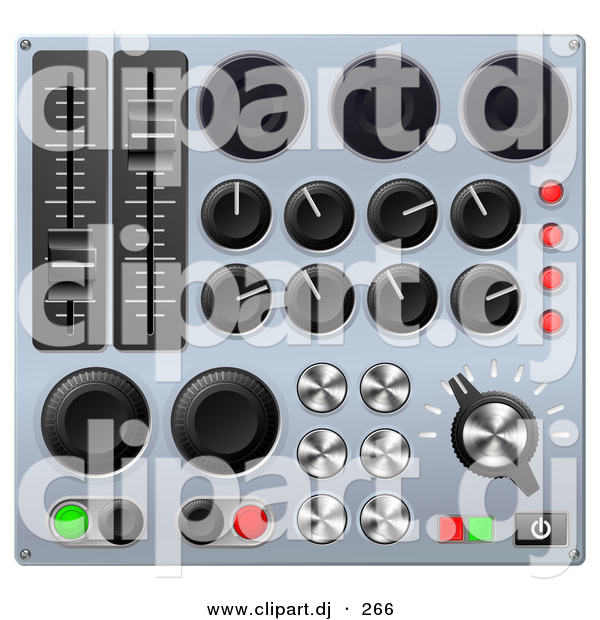 3d Vector Clipart of a Mixing Music Console Sound Board with Many Buttons