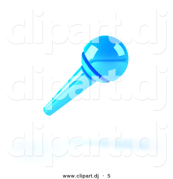 3d Vector Clipart of a Neon Blue Microphone