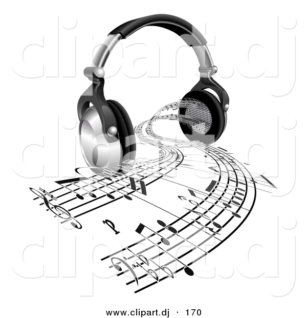 3d Vector Clipart of a Sheet Music Streaming from Headphone Speakers