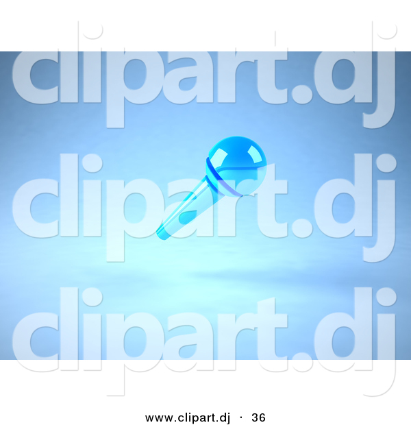 3d Vector Clipart of a Wireless Blue Floating Microphone