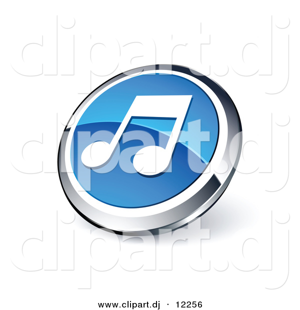3D Vector Clipart of Blue Music Note Icon