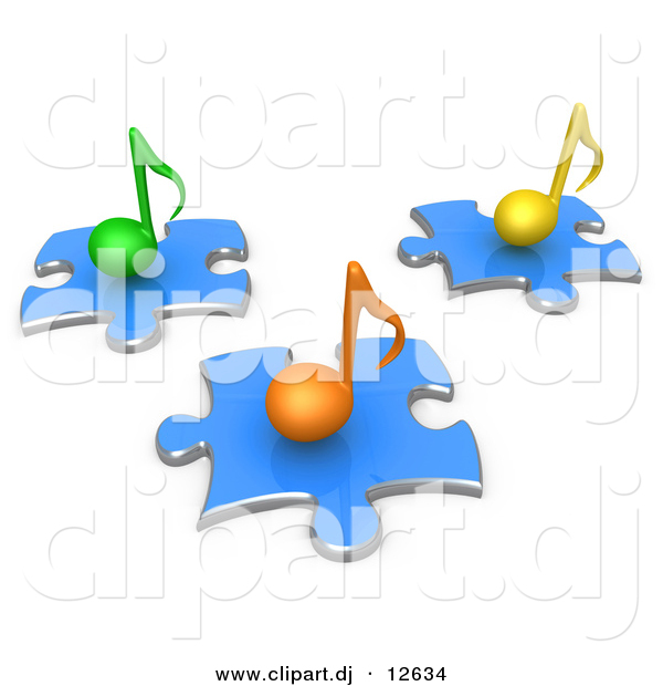 3d Vector Clipart of Different Colored Music Notes on Blue Puzzle Pieces