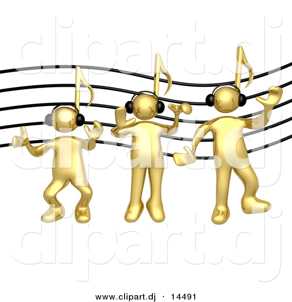 3d Vector Clipart of Gold Guys with Music Note Heads, Wearing Headphones