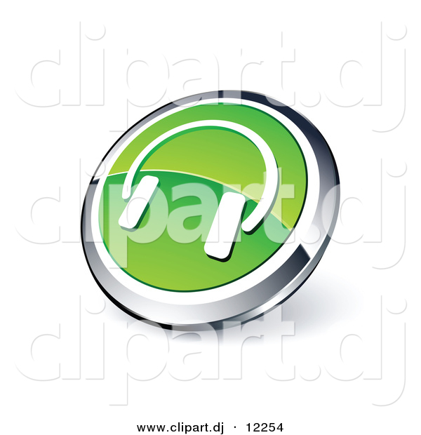 3D Vector Clipart of Green Headphones Icon