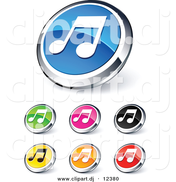 3D Vector Clipart of Music Note Icons - 7 Unique Design - Digital Collage