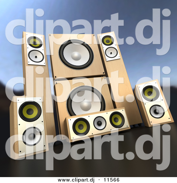 3d Vector Clipart of Wooden Speakers - Complete Surround Sound System