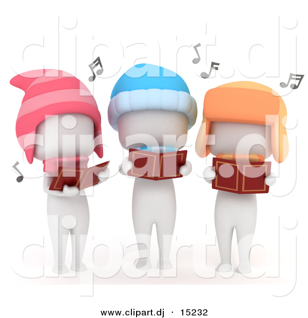 Cartoon Clipart of 3 White Kids Singing Outdoors While Looking at Music Books and Wearing Winter Hats