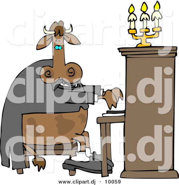 Cartoon Clipart of a Cartoon Cow Playing a Piano