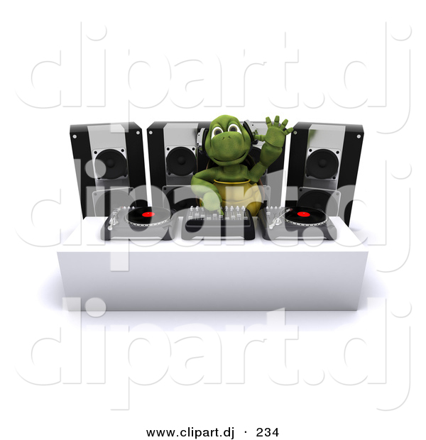 Cartoon Clipart of a DJ Turtle Mixing Music Records and Waving with His Hand in the Air