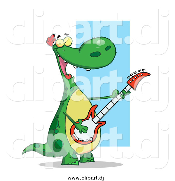Cartoon Clipart of a Happy Dinosaur Rocking out and Playing His Guitar in His Music Band