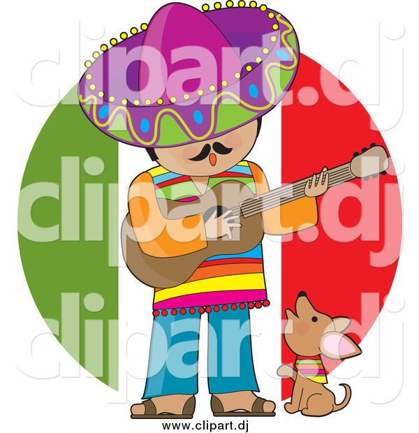 Cartoon Clipart of a Male Mexican Musician Singing and Playing a Guitar with a Chihuahua