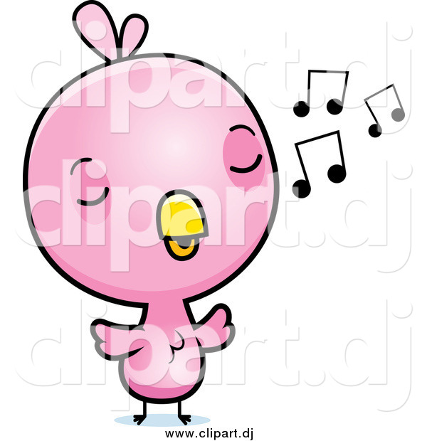 Cartoon Vector Clipart of a Baby Pink Chick Whistling a Tune