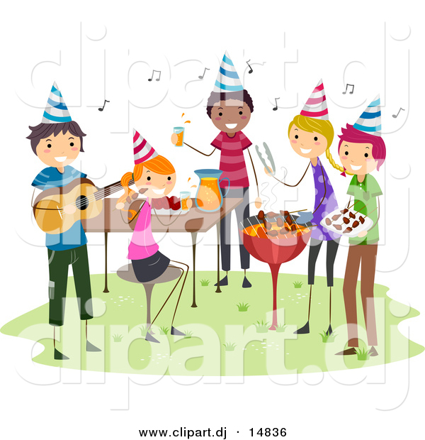 Cartoon Vector Clipart of a BBQ Birthday Party with Happy People Playing Music with Food