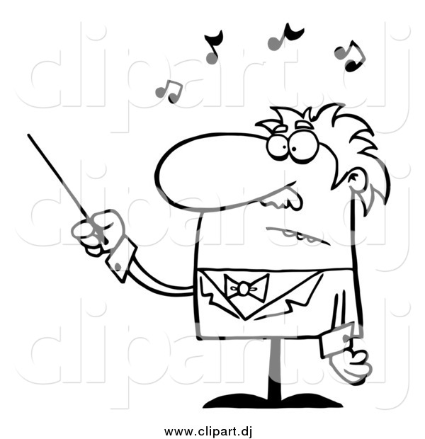 Cartoon Vector Clipart of a Black and White Senior Conductor Waving a Baton