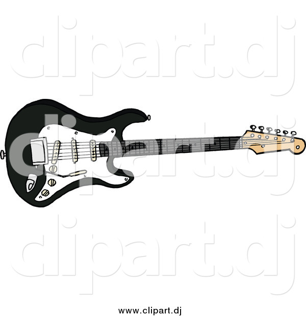 Cartoon Vector Clipart of a Black Electric Fender Stratocaster Guitar