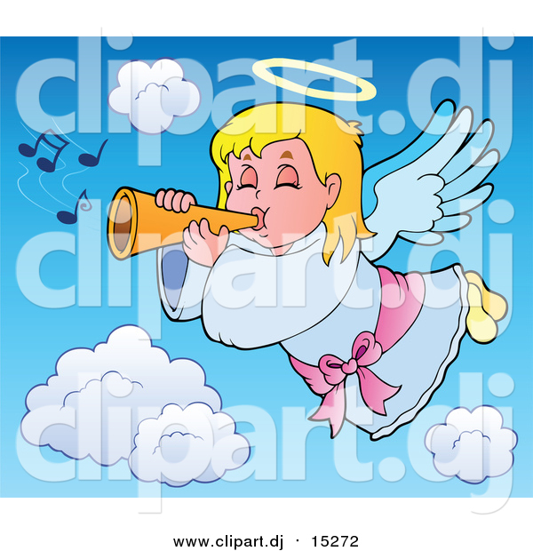 Cartoon Vector Clipart of a Blond Caucasian Angel Girl with a Wand