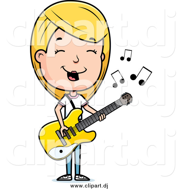 Cartoon Vector Clipart of a Blond Teenage Girl Playing a Guitar