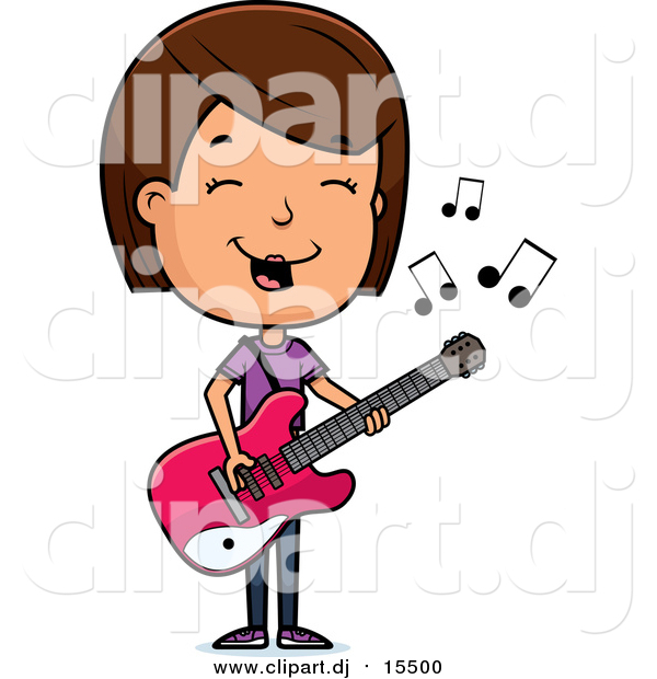 Cartoon Vector Clipart of a Brunette Adolescent White Teenage Girl Playing a Guitar