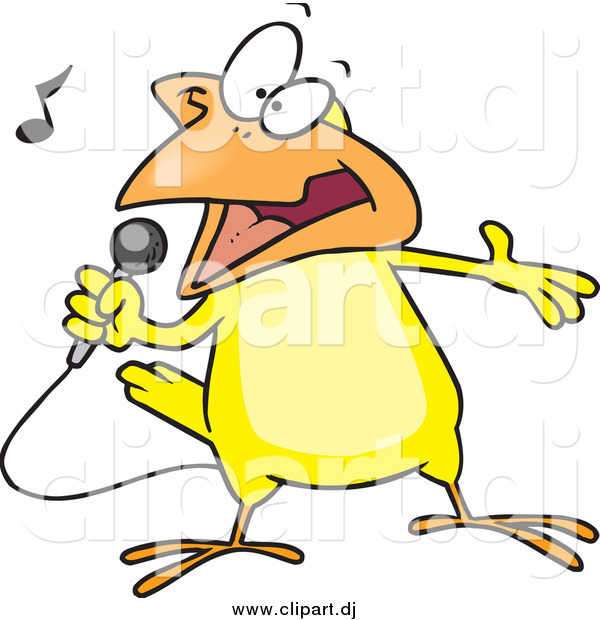 Cartoon Vector Clipart of a Cartoon Singing Yellow Canary