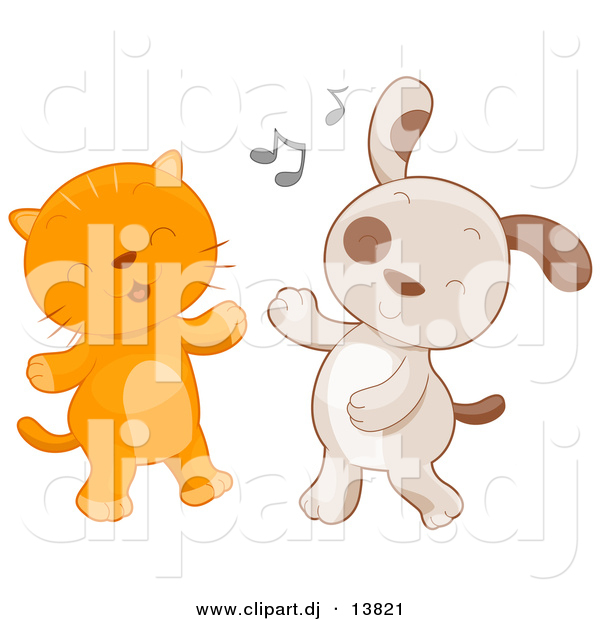 Cartoon Vector Clipart of a Cat and Dog Dancing Together