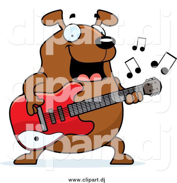 Cartoon Vector Clipart of a Chubby Brown Dog Guitarist