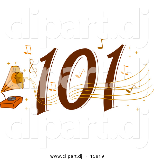 Cartoon Vector Clipart of a Classic 101 Icon with Music Notes and Old Record Player