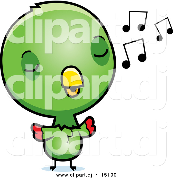 Cartoon Vector Clipart of a Cute Green Baby Parrot Singing