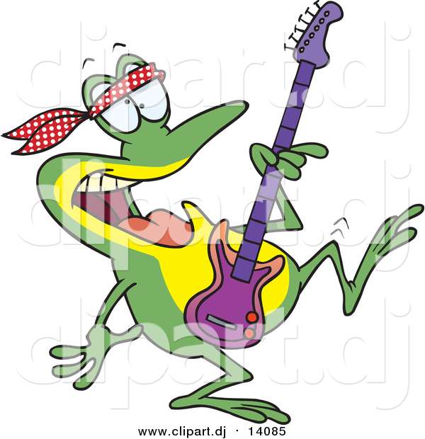 Cartoon Vector Clipart of a Dancing Guitarist Frog