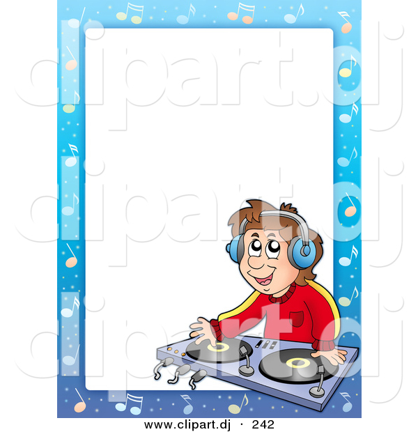 Cartoon Vector Clipart of a DJ Border Frame - Kid Mixing Music