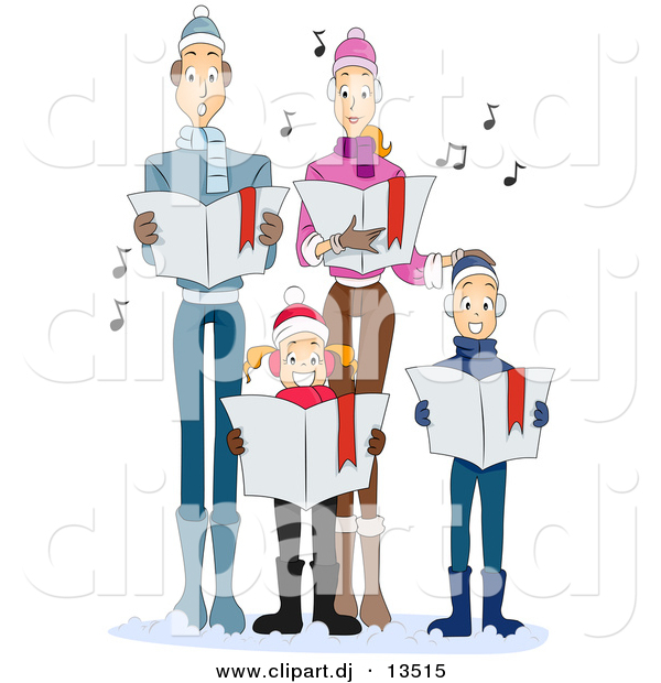Cartoon Vector Clipart of a Family Singing Christmas Carols