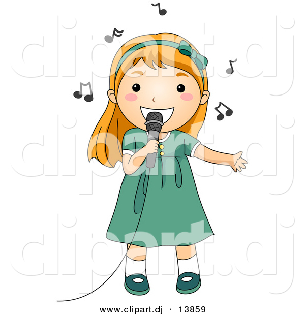 Cartoon vector clipart of a girl singing into a microphone with music