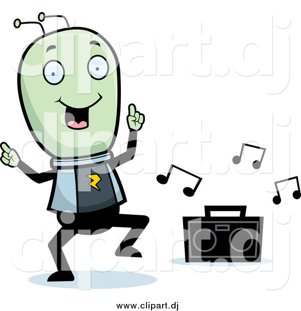 Cartoon Vector Clipart of a Green Alien Dancing to Music