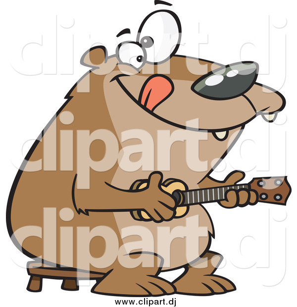 Cartoon Vector Clipart of a Happy Bear Playing a Ukelele