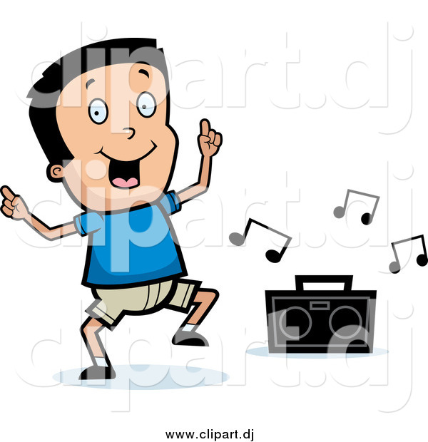 Cartoon Vector Clipart of a Happy Black Haired Boy Dancing to Music