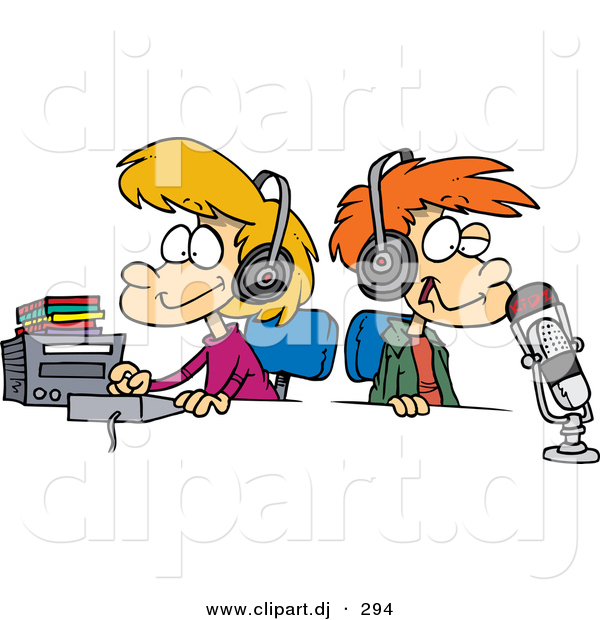 Cartoon Vector Clipart of a Happy Boy and Girl Wearing Headphones in a Studio