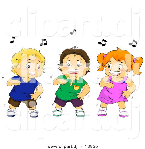Cartoon Vector Clipart of a Happy Girl Dancing with Two Boys