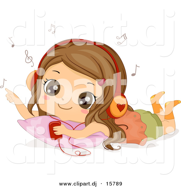Cartoon Vector Clipart of a Happy Girl Listening to Music on a Mp3 Player